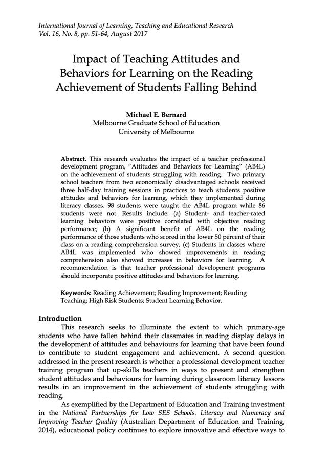 Impact of Teaching Attitudes and Behaviors